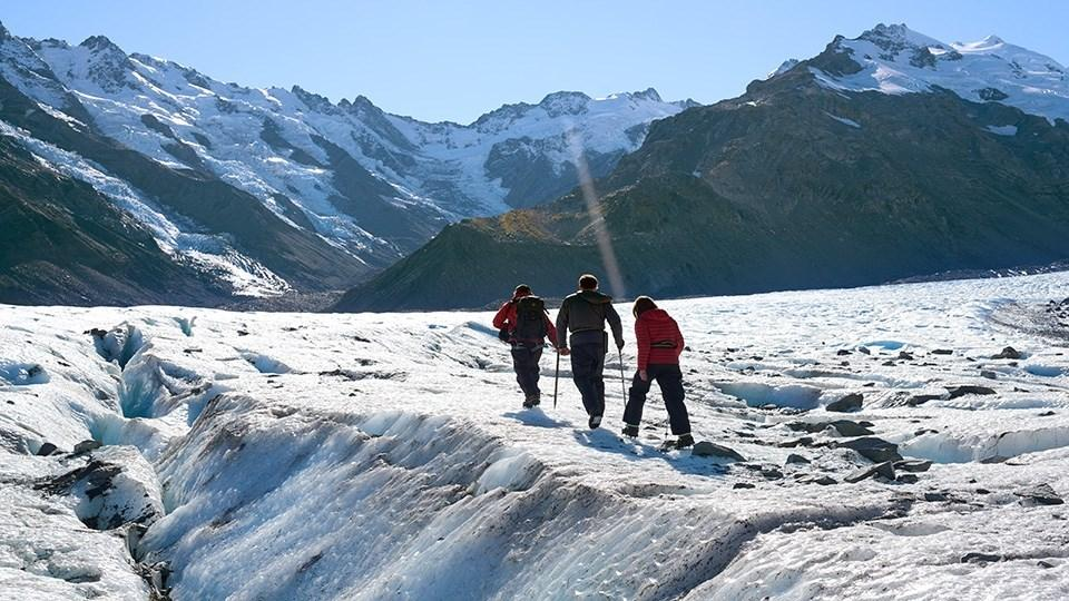 Walking on ice in Mt Cook National Park