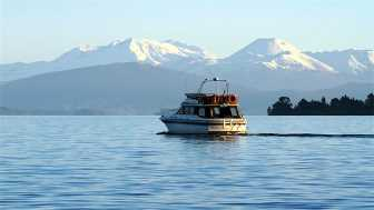 Lake Taupo with volcanoes in the background