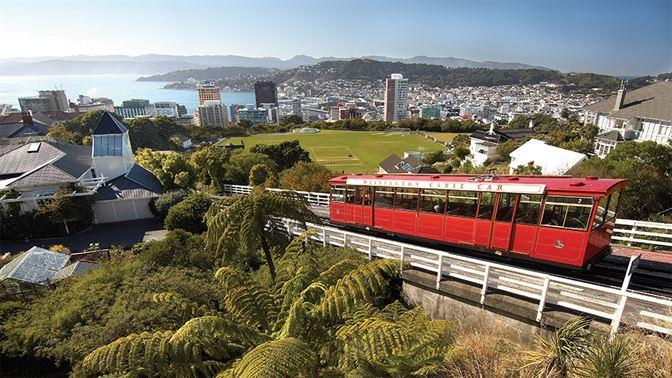 Wellington Cable Car overlooking the city
