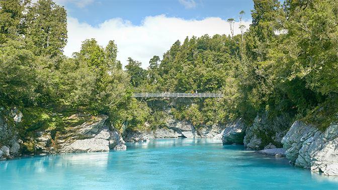 Hokitika Gorge and blue glacial lake
