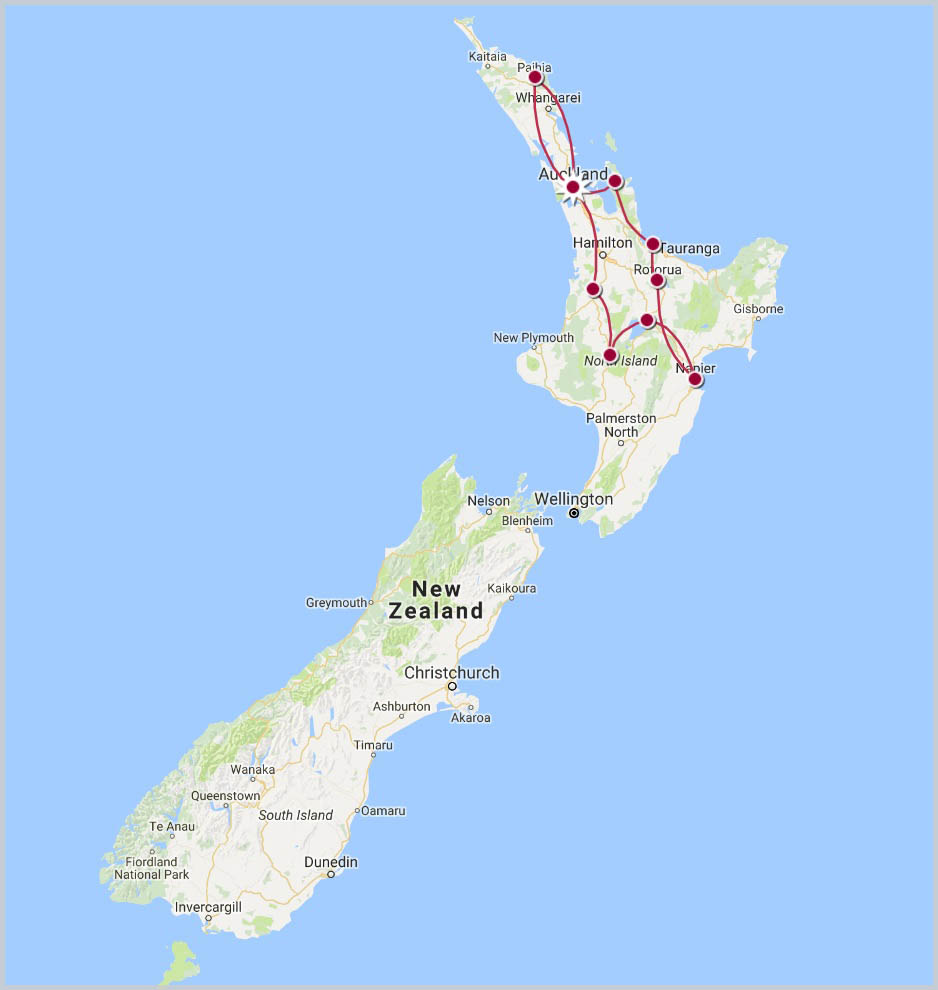 North Island Self Discovery Tour Map