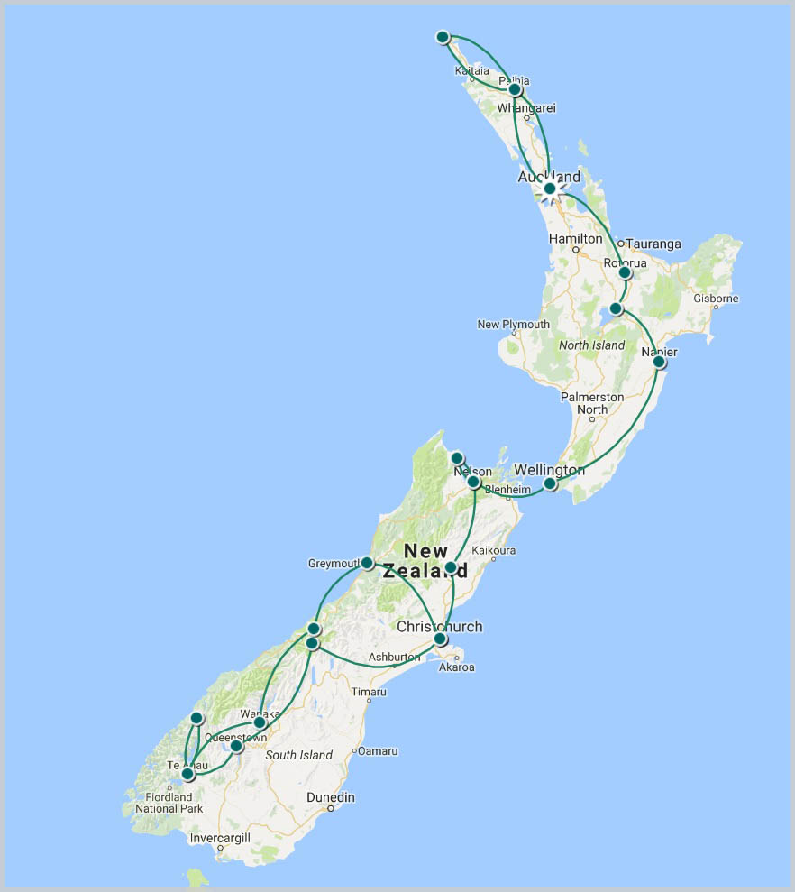 New Zealand Unveiled Tour Map