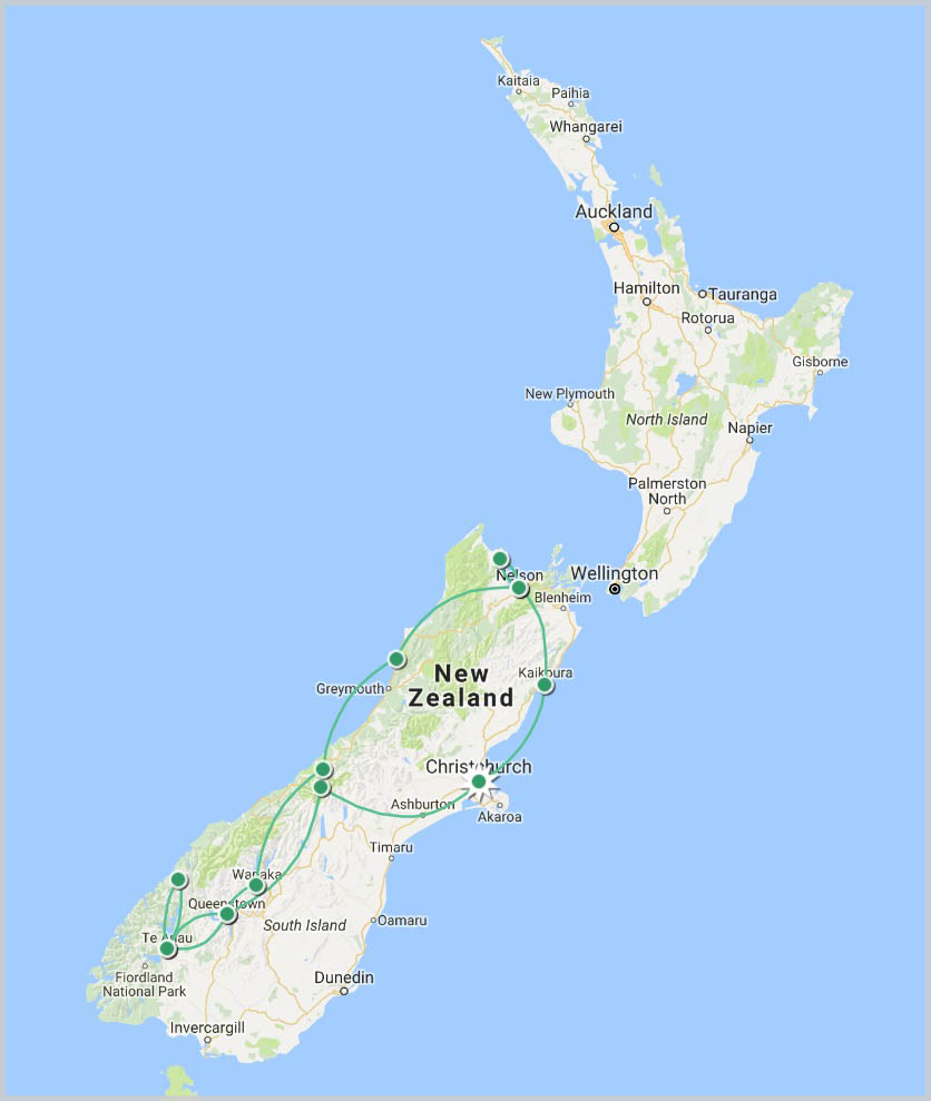 South Island Adventure Tour Map