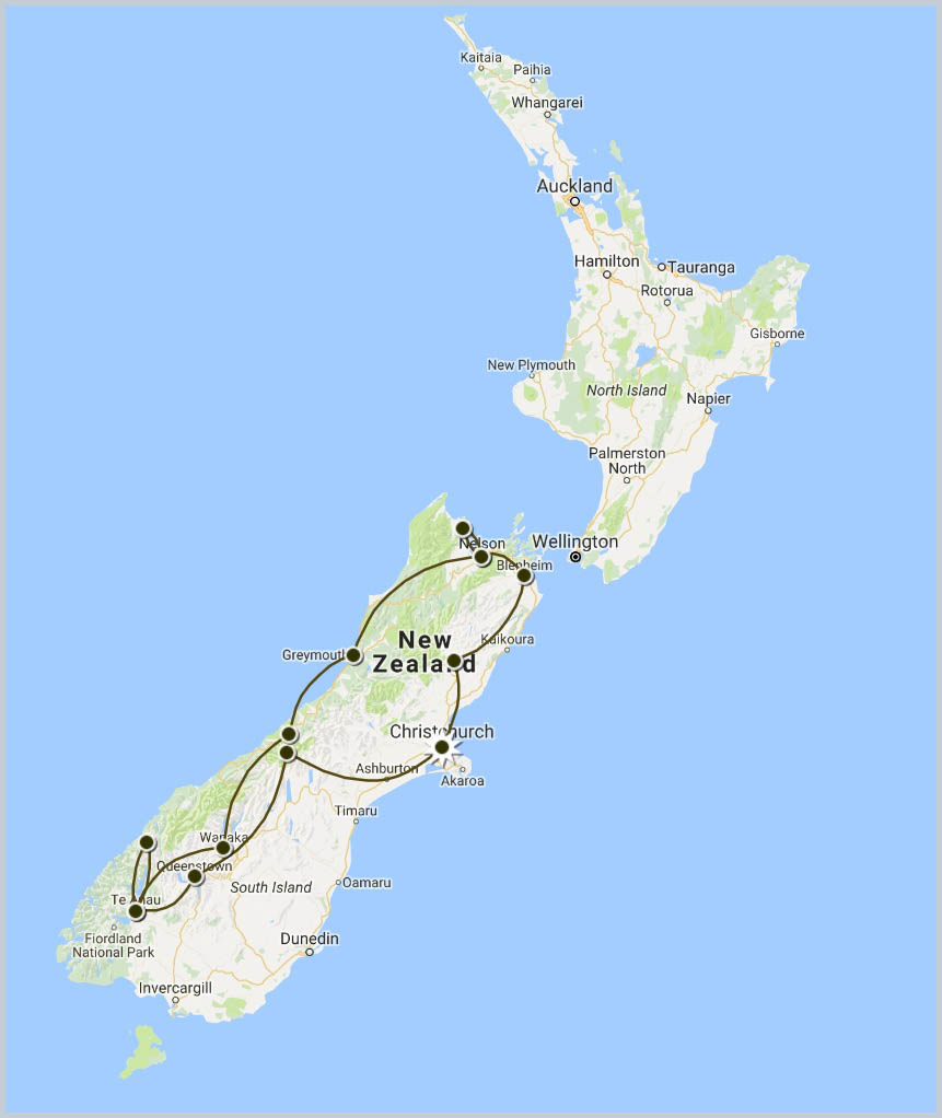 Tantalizing South Island Tour map